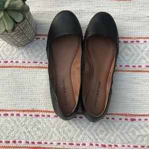 Lucky brand black leather emeralda flats size 8.5
